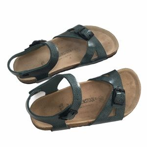 BIRKENSTOCK RIO MAGIC GALAXY GREEN SANDALS
